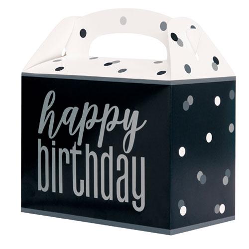 Black Glitz Happy Birthday Paper Party Box - Pack of 6