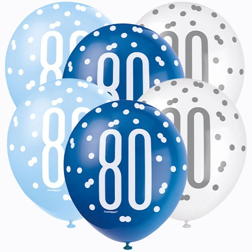 Blue Glitz Age 80 Assorted Biodegradable Latex Balloons 30cm / 12 in - Pack of 6