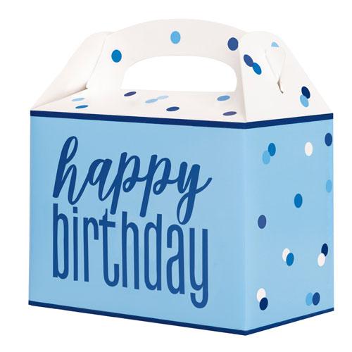 Blue Glitz Happy Birthday Paper Party Box - Pack of 6
