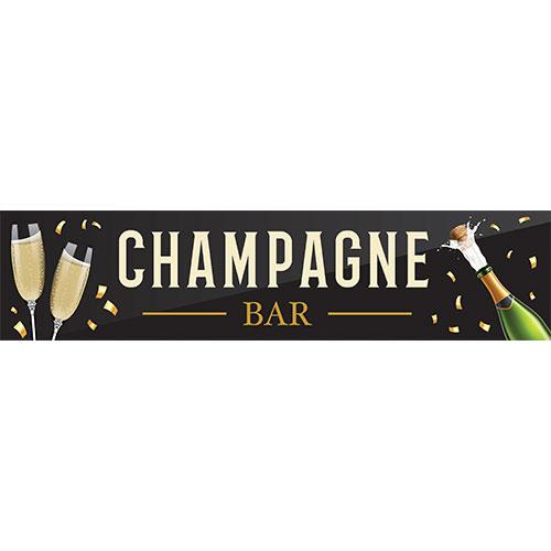 Champagne Bar Black PVC Party Sign Decoration 110cm x 26cm