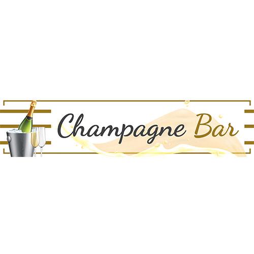 Champagne Bar White PVC Party Sign Decoration 110cm x 26cm
