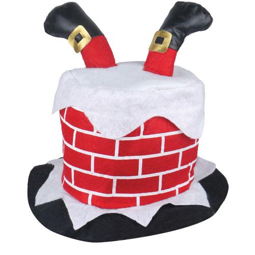Chimney Hat with Santa Legs Adults Christmas Fancy Dress