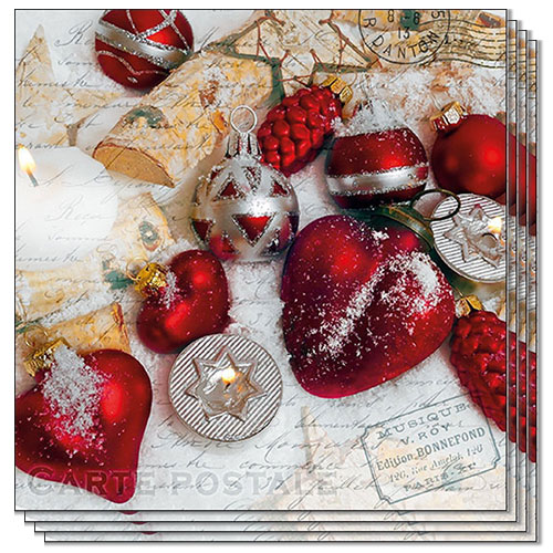 Christmas Greetings Premium Luncheon Napkins 3Ply 33cm - Pack of 20