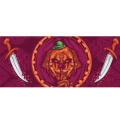 Clown and Bloody Knives Halloween PVC Party Sign Decoration 60cm x 25cm