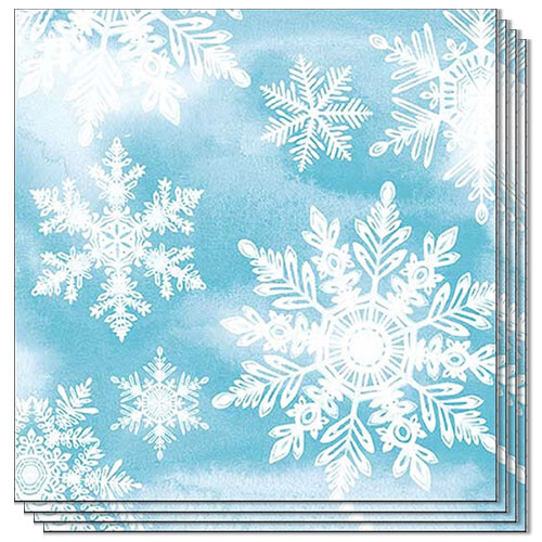 Crystals Blue Snowflakes Christmas Premium Luncheon Napkins 3Ply 33cm - Pack of 20