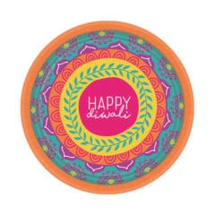 Diwali Round Paper Plates 18cm - Pack of 8