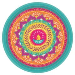 Diwali Round Paper Plates 27cm - Pack of 8