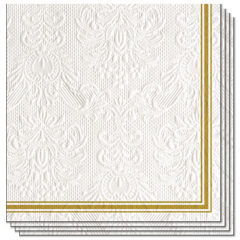Elegance Lea White Embossed Premium Luncheon Napkins 3Ply 33cm - Pack of 15