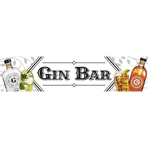 Gin Bar White PVC Party Sign Decoration 110cm x 26cm