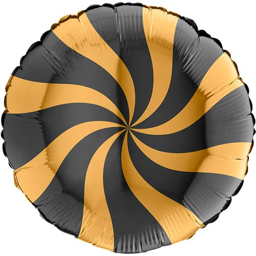 Gold & Black Candy Swirl Round Foil Helium Balloon 46cm / 18 in