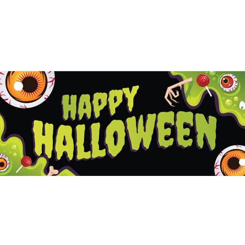 Green Happy Halloween Eyeballs PVC Party Sign Decoration 60cm x 25cm