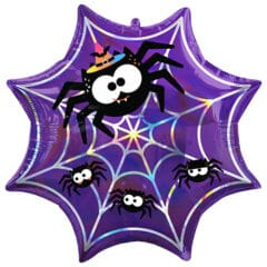 Halloween Iridescent Spider Web Helium Foil Giant Balloon 55cm / 22 in