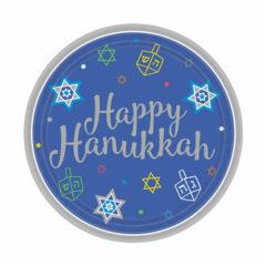 Hanukkah Round Paper Plates 18cm - Pack of 18