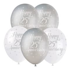 Happy 25th Anniversary Biodegradable Latex Balloons 30cm / 12 in - Pack of 5