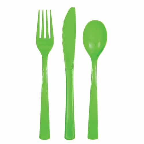 Lime Green Plastic Assorted Cutlery Set - Pack of 18