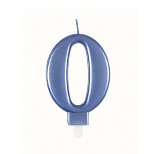 Metallic Steel Blue Number 0 Birthday Candle 9cm