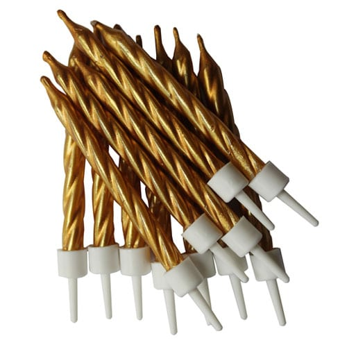 Metallic Gold Candles With Holders - Pack of 12