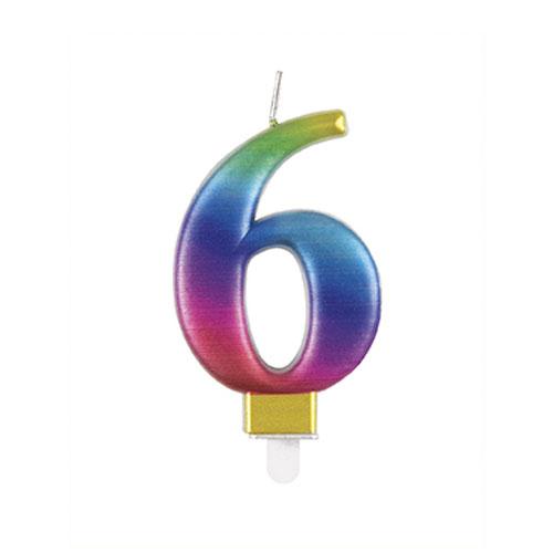 Metallic Rainbow Number 6 Birthday Candle 9cm