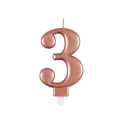 Metallic Rose Gold Number 3 Birthday Candle 9cm