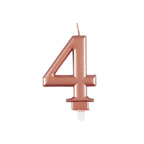 Metallic Rose Gold Number 4 Birthday Candle 9cm