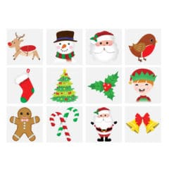 Assorted Christmas Characters Mini Tattoo Stickers - Pack of 12