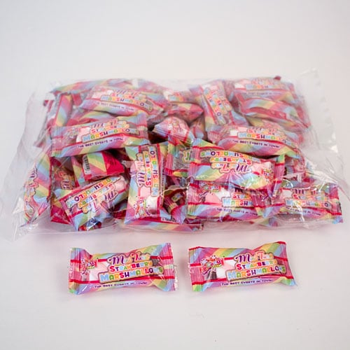 Mini Twist Strawberry Marshmallow Sweets 3 Grams - Pack of 50