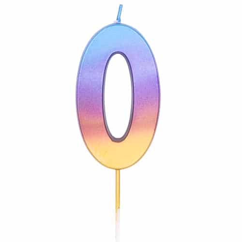Number 0 Rainbow Ombre Pick Birthday Candle 11cm