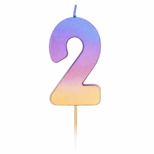 Number 2 Rainbow Ombre Pick Birthday Candle 11cm