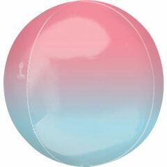 Ombre Pastel Pink & Blue Orbz Foil Helium Balloon 38cm / 15 in