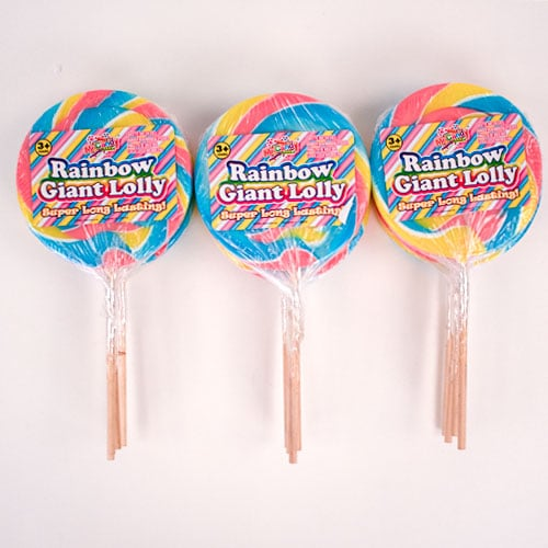 Pastel Rainbow Giant Candy Lolly Sweets 110 Grams - Pack of 12