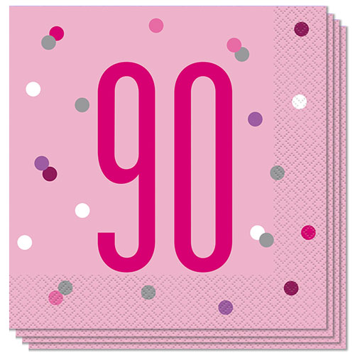 Pink Glitz Age 90 Luncheon Napkins 33cm 2Ply - Pack of 16