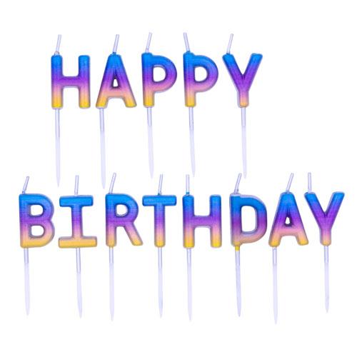 Rainbow Ombre Happy Birthday Pick Candles 8cm