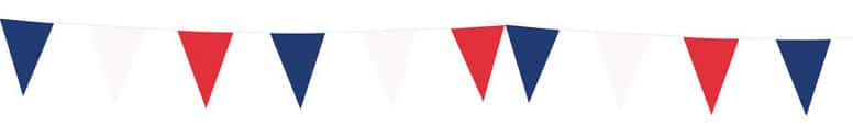 Red White & Blue Plastic Pennant Bunting 10m