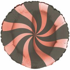 Rose Gold & Platinum Grey Candy Swirl Round Foil Helium Balloon 46cm / 18 in