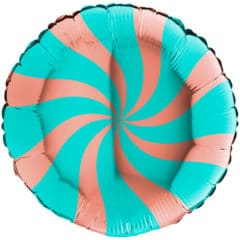 Rose Gold & Tiffany Blue Candy Swirl Round Foil Helium Balloon 46cm / 18 in