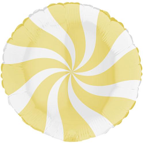White & Matte Yellow Candy Swirl Round Foil Helium Balloon 46cm / 18 in