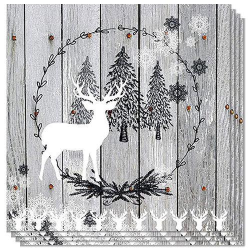 Wooden Scene Christmas Premium Luncheon Napkins 3Ply 33cm - Pack of 20