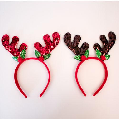 Assorted Reverse Sequin Antlers Christmas Headband Fancy Dress