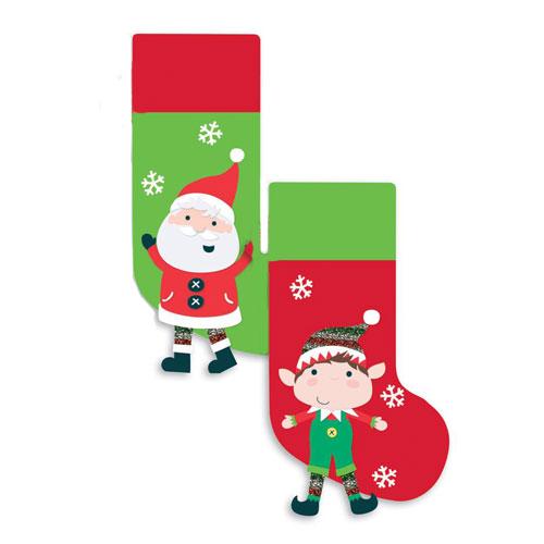 Assorted Santa & Elf Christmas Stocking With Legs 46cm