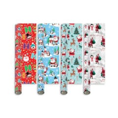 Assorted Santa & Friends Christmas Gift Wrapping Paper 5m - Pack of 4