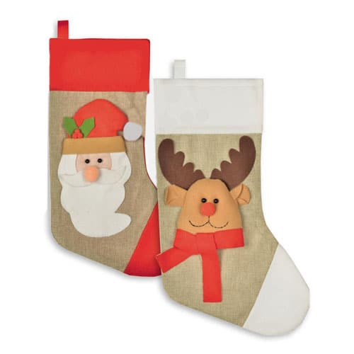 Assorted Santa & Reindeer 3D Christmas Stocking 48cm