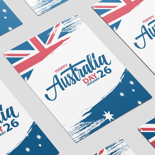 Australia Day Brush Effect A2 Poster PVC Party Sign Decoration 59cm x 42cm