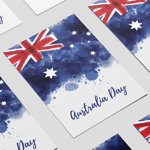 Australia Day Watercolour A2 Poster PVC Party Sign Decoration 59cm x 42cm