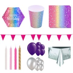 Birthday Rainbow Ombre 16 Person Deluxe Party Pack