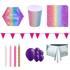 Birthday Rainbow Ombre 8 Person Deluxe Party Pack
