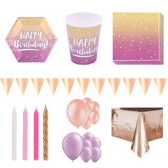 Birthday Rose Gold Ombre 16 Person Deluxe Party Pack
