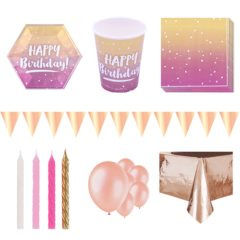 Birthday Rose Gold Ombre 8 Person Deluxe Party Pack