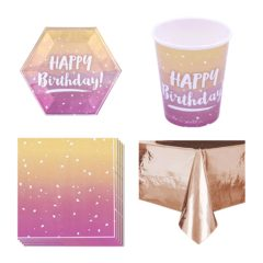 Birthday Rose Gold Ombre 8 Person Value Party Pack