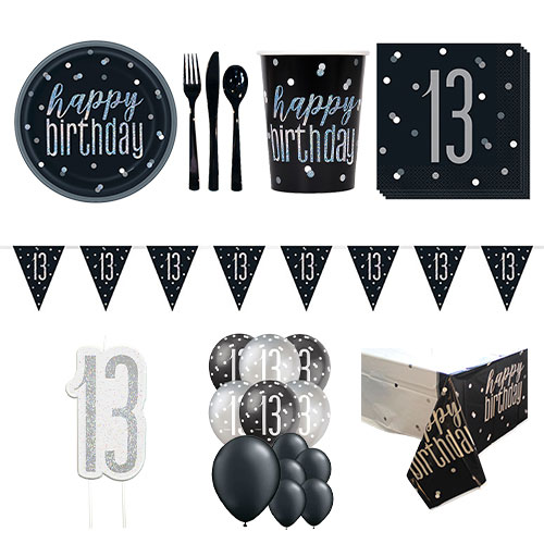 Black Glitz 13th Birthday 16 Person Deluxe Party Pack