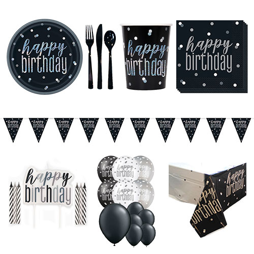 Black Glitz Happy Birthday 16 Person Deluxe Party Pack